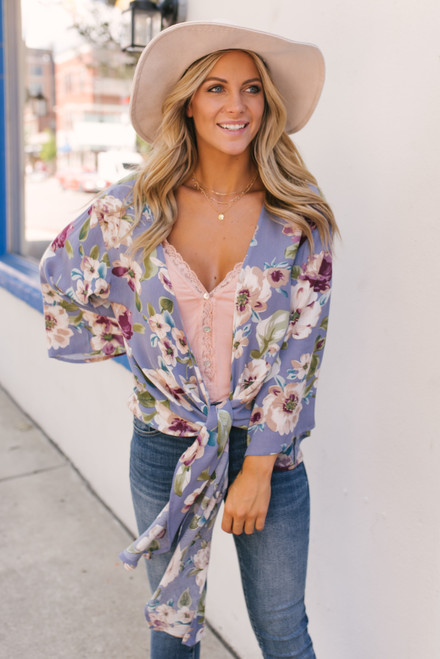 Tie Front Floral Kimono - Lavender Multi