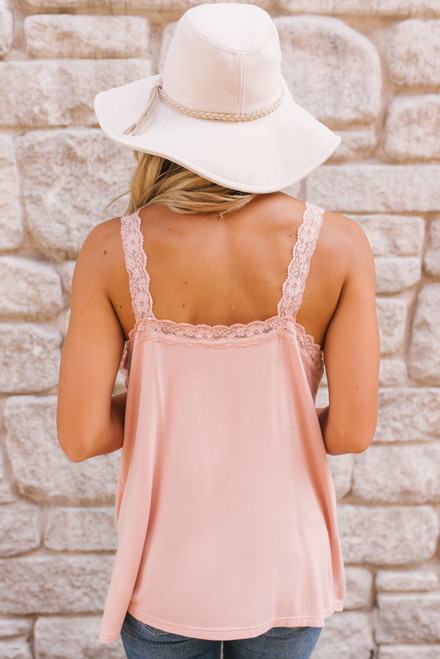 V-Neck Button Detail Lace Tank - Pink - FINAL SALE