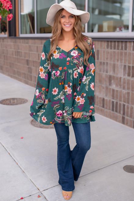 V-Neck Bell Sleeve Floral Tunic - Hunter Green