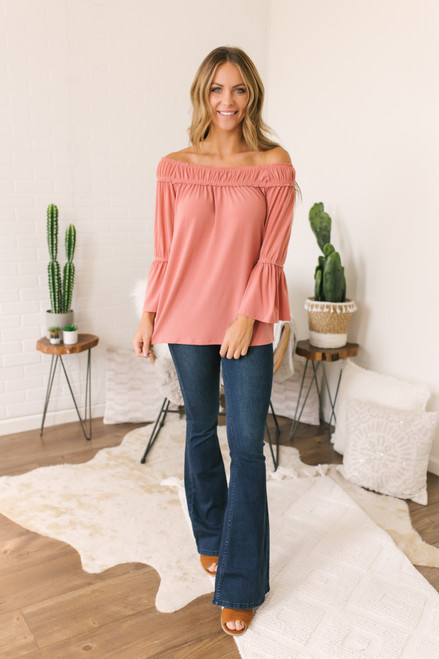 Off the Shoulder Peplum Sleeve Top - Coral - FINAL SALE