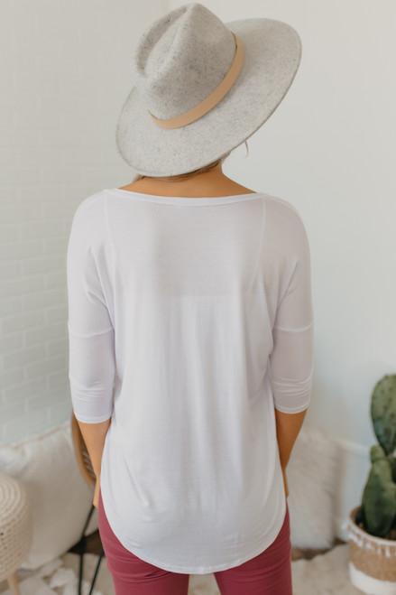 V-Neck 3/4 Sleeve Tee - White
