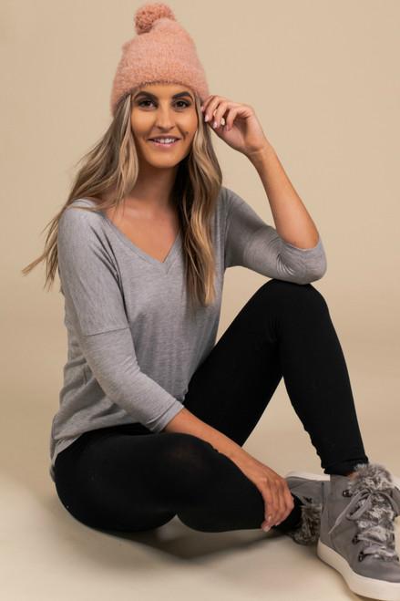V-Neck 3/4 Sleeve Tee - Heather Grey