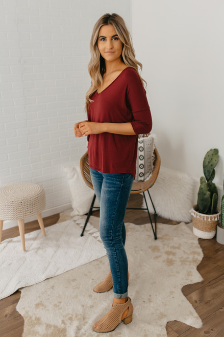 V-Neck 3/4 Sleeve Tee - Burgundy