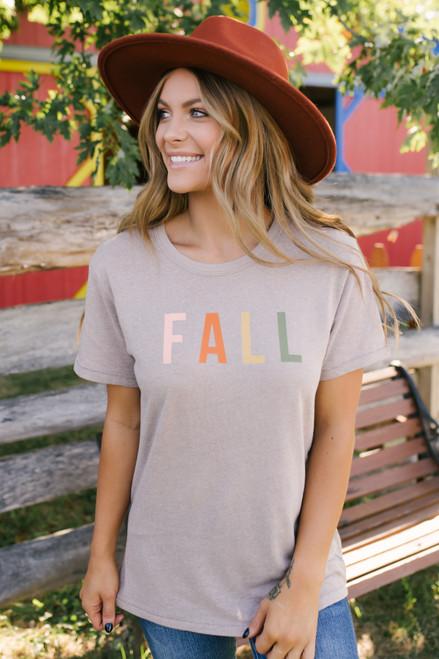 Fall Graphic Tee - Stone Multi  - FINAL SALE