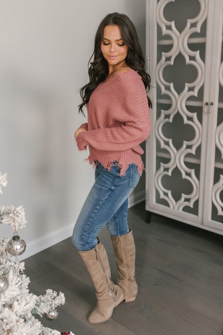Fireside Chat Frayed Sweater - Rose