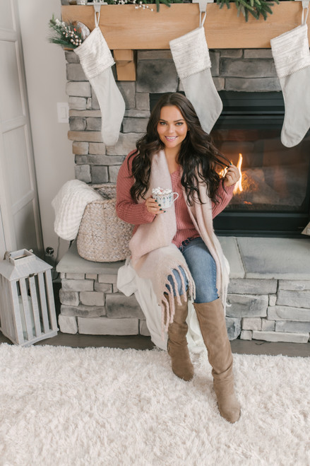 Fireside Chat Frayed Sweater - Rose - FINAL SALE