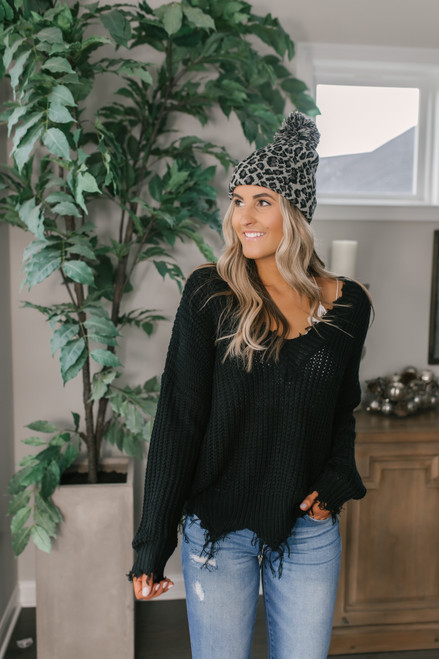 Fireside Chat Frayed Sweater - Black  - FINAL SALE