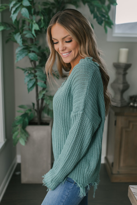 Fireside Chat Frayed Sweater - Blue Green