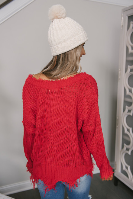 Fireside Chat Frayed Sweater - Red