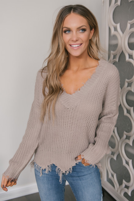 Fireside Chat Frayed Sweater - Taupe Grey