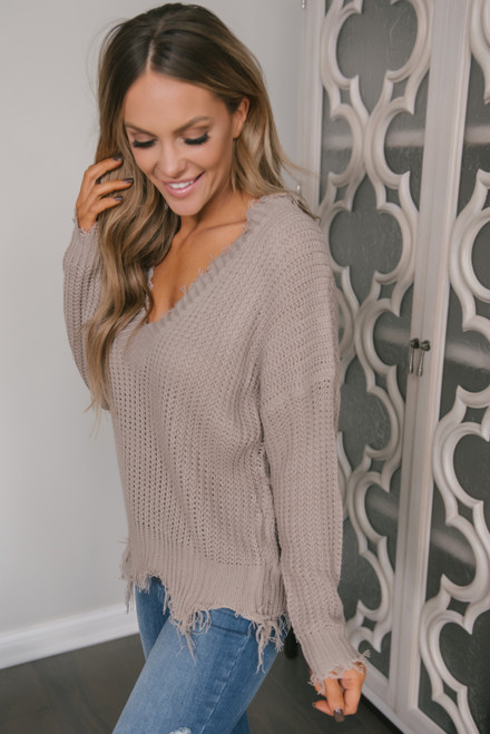 Fireside Chat Frayed Sweater - Taupe Grey -  FINAL SALE