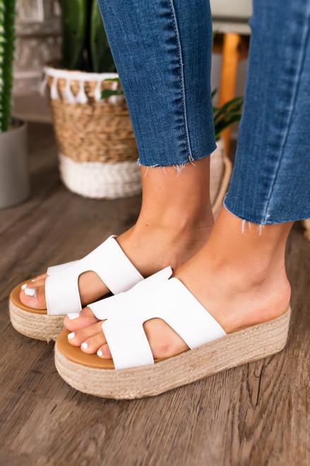 Catching Waves White Platform Sandals