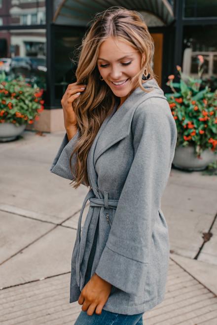Shawl Collar Tie Waist Coat - Heather Grey