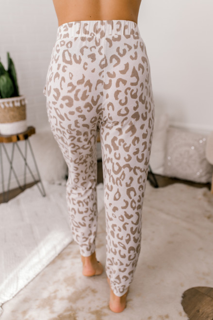 Leopard Lounge Joggers - Ivory/Taupe