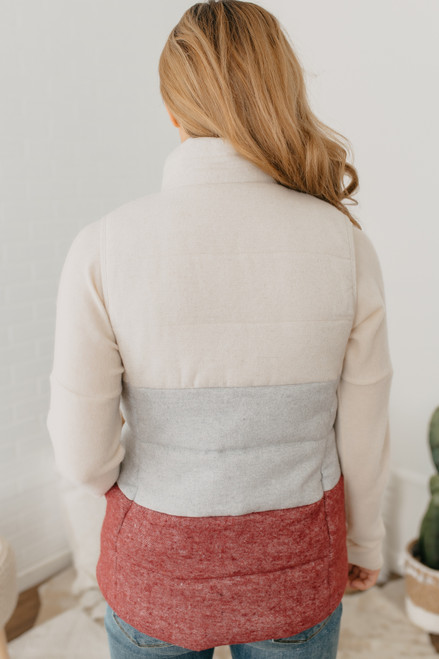 Colorblock Quilted Vest - White/Grey/Burgundy