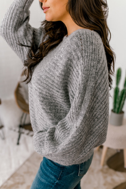 Ribbed Knit Dolman Sweater - Charcoal