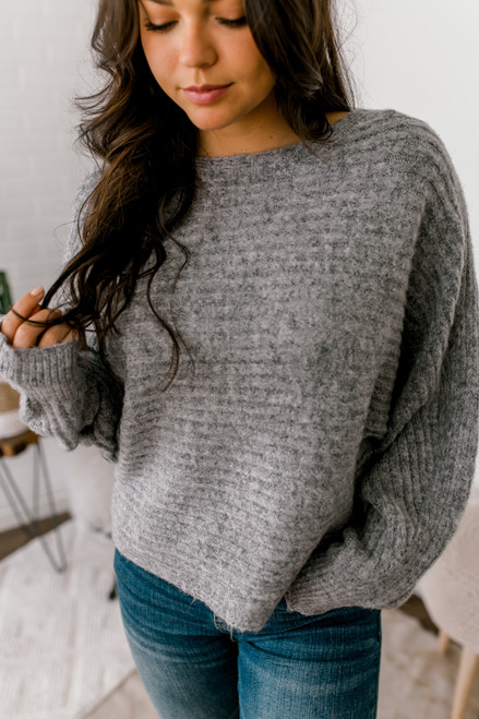 Ribbed Knit Dolman Sweater - Charcoal - FINAL SALE