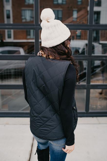 Reversible Quilted Leopard Vest - Black