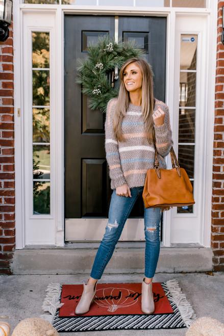 Multi Stripe Eyelash Sweater - Mocha Multi