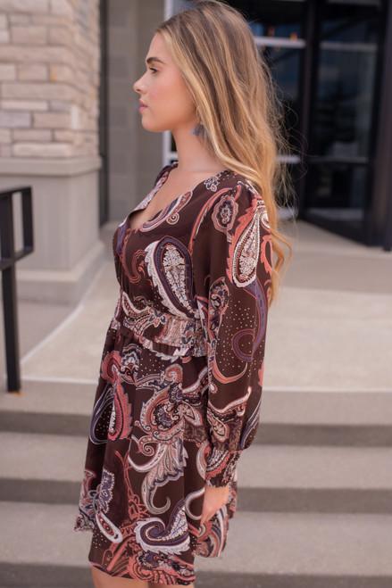 V-Neck Vintage Paisley Dress - Chocolate