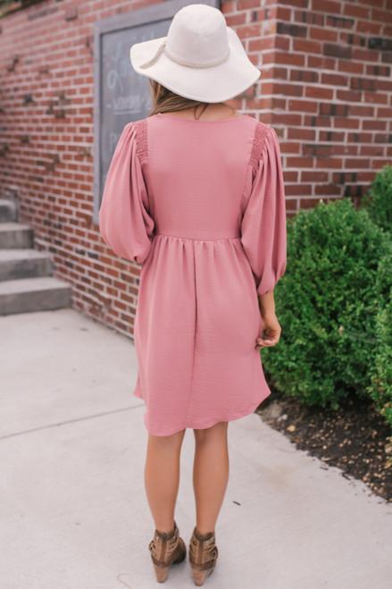Everly V-Neck Babydoll Dress - Mauve  - FINAL SALE
