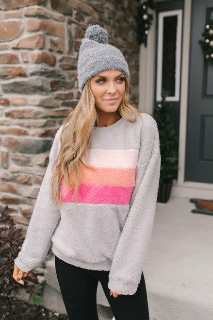Colorblock Sherpa Pullover - Grey Multi