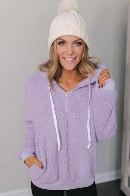 Half Zip Sherpa Hoodie - Lavender