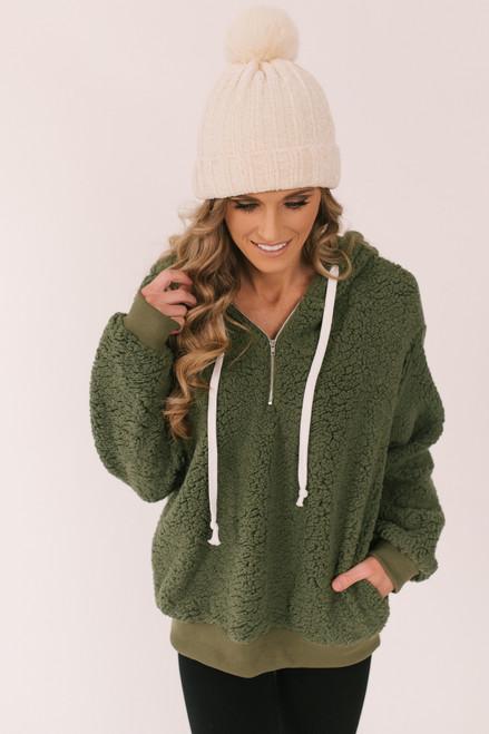 Half Zip Sherpa Hoodie - Olive