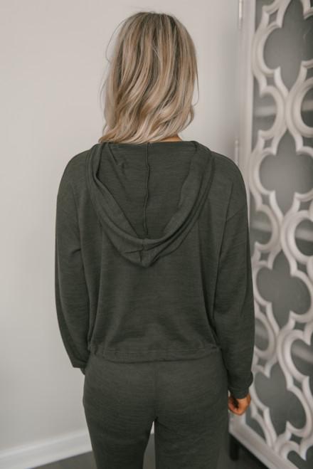 Soft Brushed Cropped Hoodie - Dark Olive