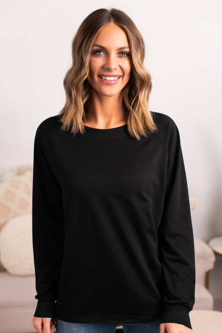 French Terry Raglan Pullover - Black
