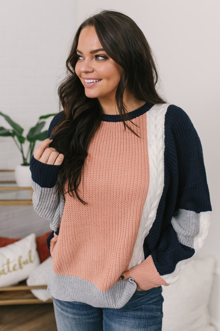 Colorblock Dolman Sweater - Navy/Mauve/Grey/Ivory