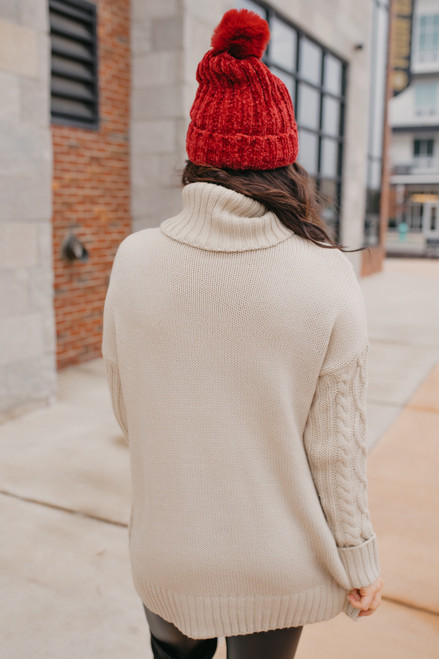 Turtleneck Cable Pocket Sweater - Ivory