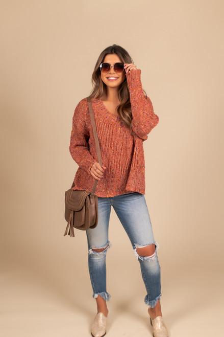 V-Neck Confetti Chenille Sweater - Rust