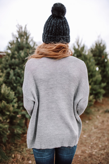V-Neck Lace Up Cable Sweater - Grey