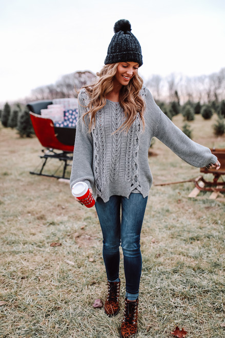 V-Neck Lace Up Cable Sweater - Grey - FINAL SALE