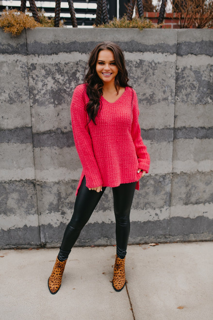 V-Neck High Low Textured Sweater - Fuchsia