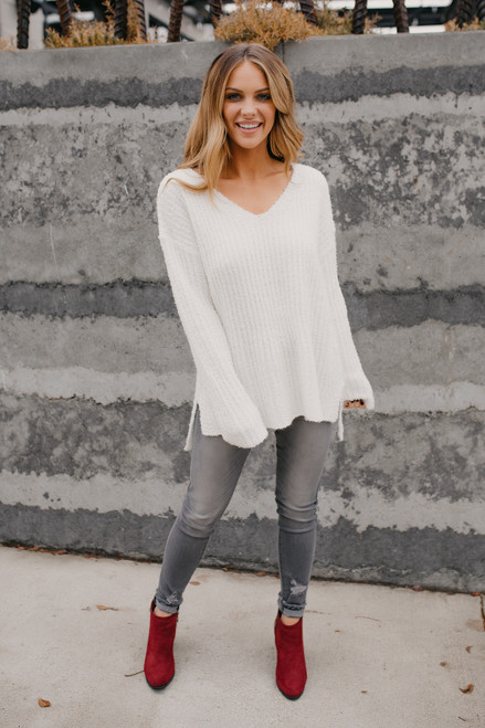 V-Neck High Low Textured Sweater - Ivory