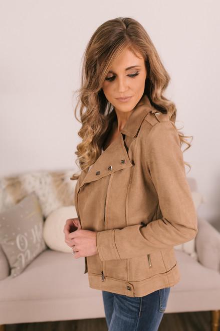 Faux Suede Studded Moto Jacket - Khaki