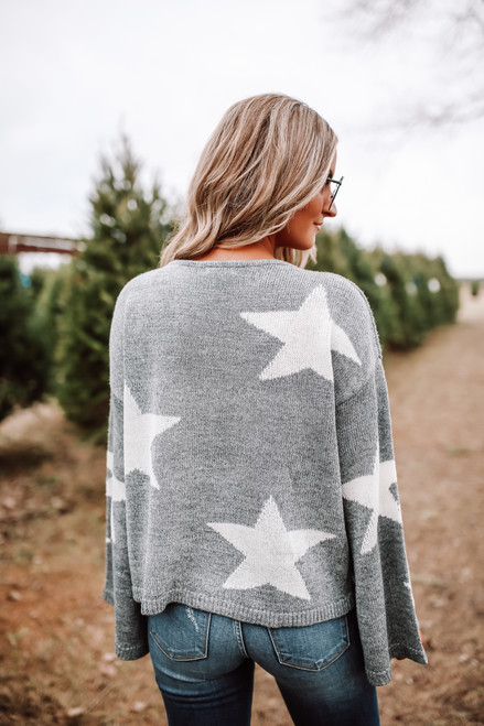 Wide Sleeve Star Sweater - Heather Grey