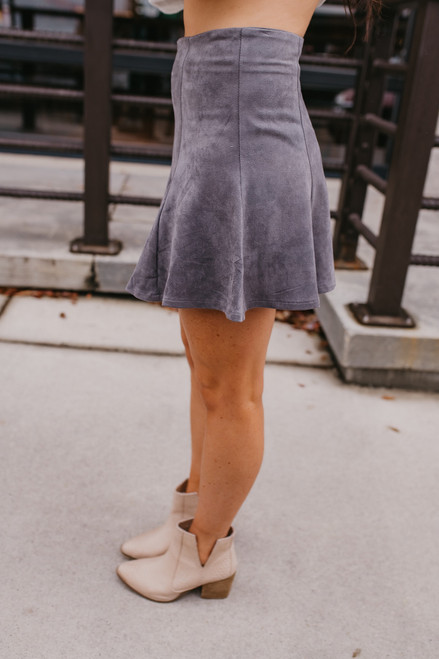 Faux Suede Flare Skirt - Charcoal