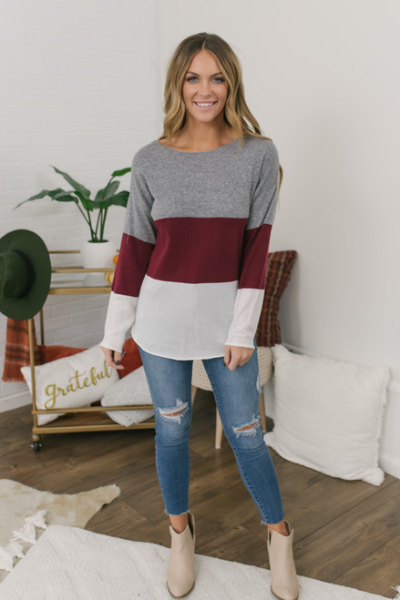Curved Hem Colorblock Sweater - Grey/Burgundy/Ivory - FINAL SALE