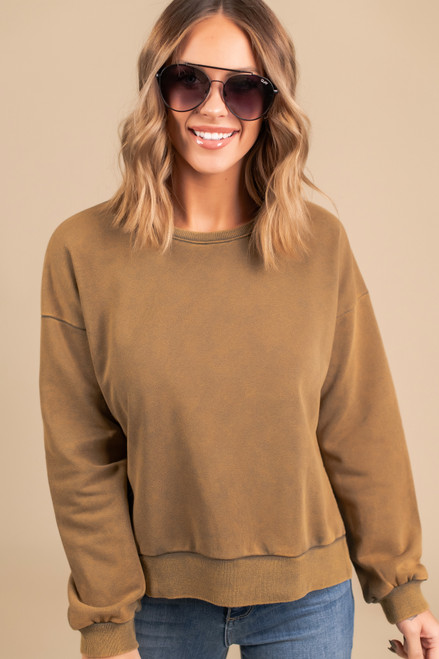 Vintage Wash Side Slit Pullover - Olive
