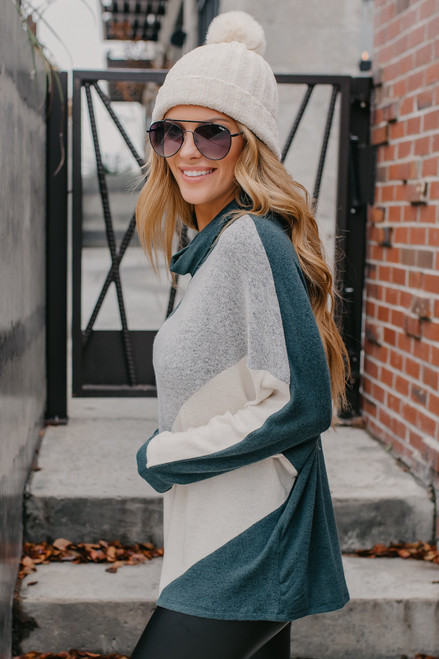 Cowl Neck Brushed Colorblock Pullover - Green/Grey/Oatmeal