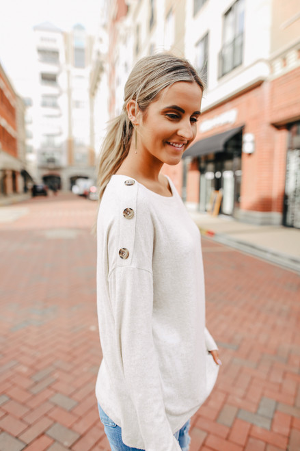 Button Detail Brushed Top - Oatmeal