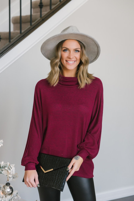 Cowl Neck Brushed Pullover - Burgundy