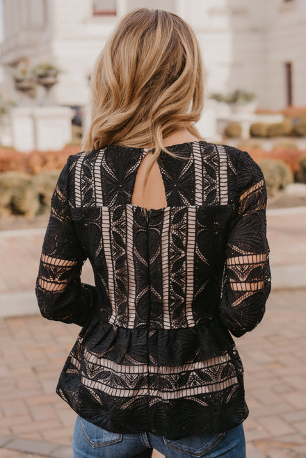 Queen of Hearts Lace Blouse - Black