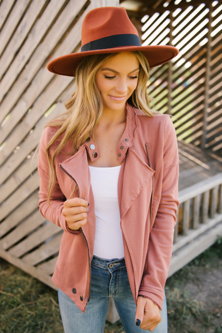 French Terry Moto Jacket - Terracotta  - FINAL SALE