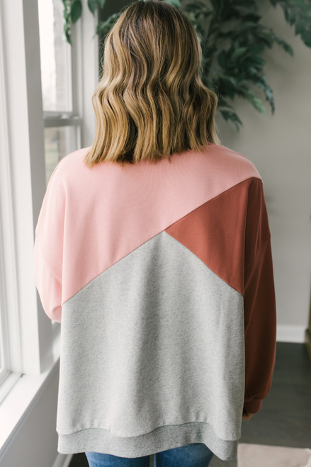 Side Slit Colorblock Pullover - Mauve/Pink/Grey