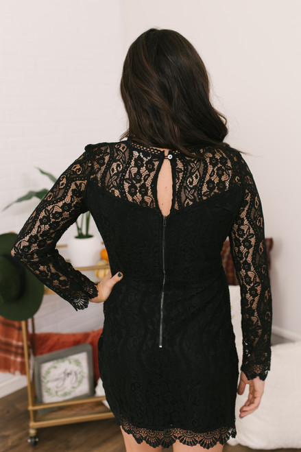 The Perfect Date Lace Dress - Black