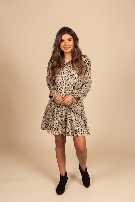 Drop Waist Cheetah Dress - Taupe/Black